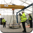 Crane engineers commissioning a new double girder crane