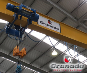 Wire Rope hoists, This is an Omis underslung wire rope hoist fitted onto a single girder overhead crane by granada cranes and handling in the west midlands