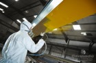 Overhead Cranes being sprayed with a Kortec paint sprayer