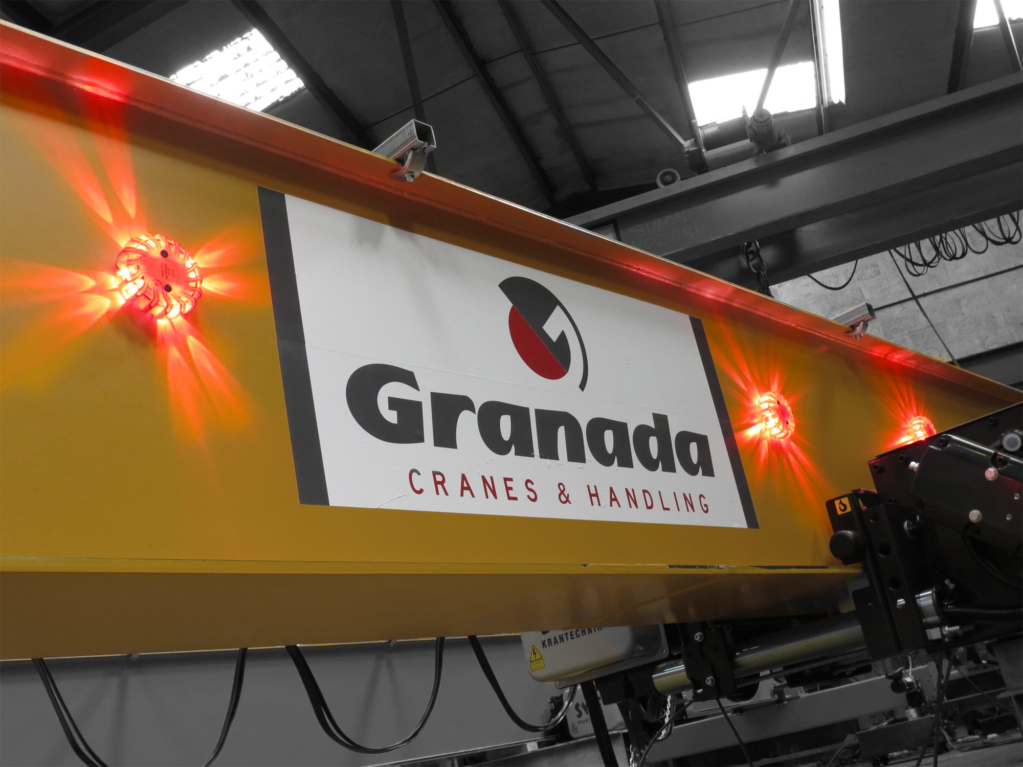 Overhead Crane Lights Led : Successful trial of high visibility site warning beacons granada cranes and handling