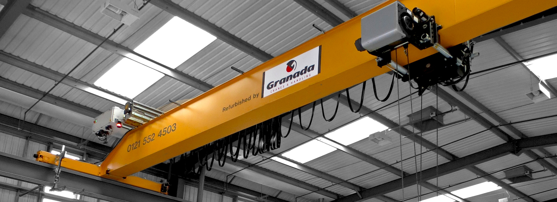 refurbished Kone Cranes overhead crane system modified by Granada Cranes and Handling
