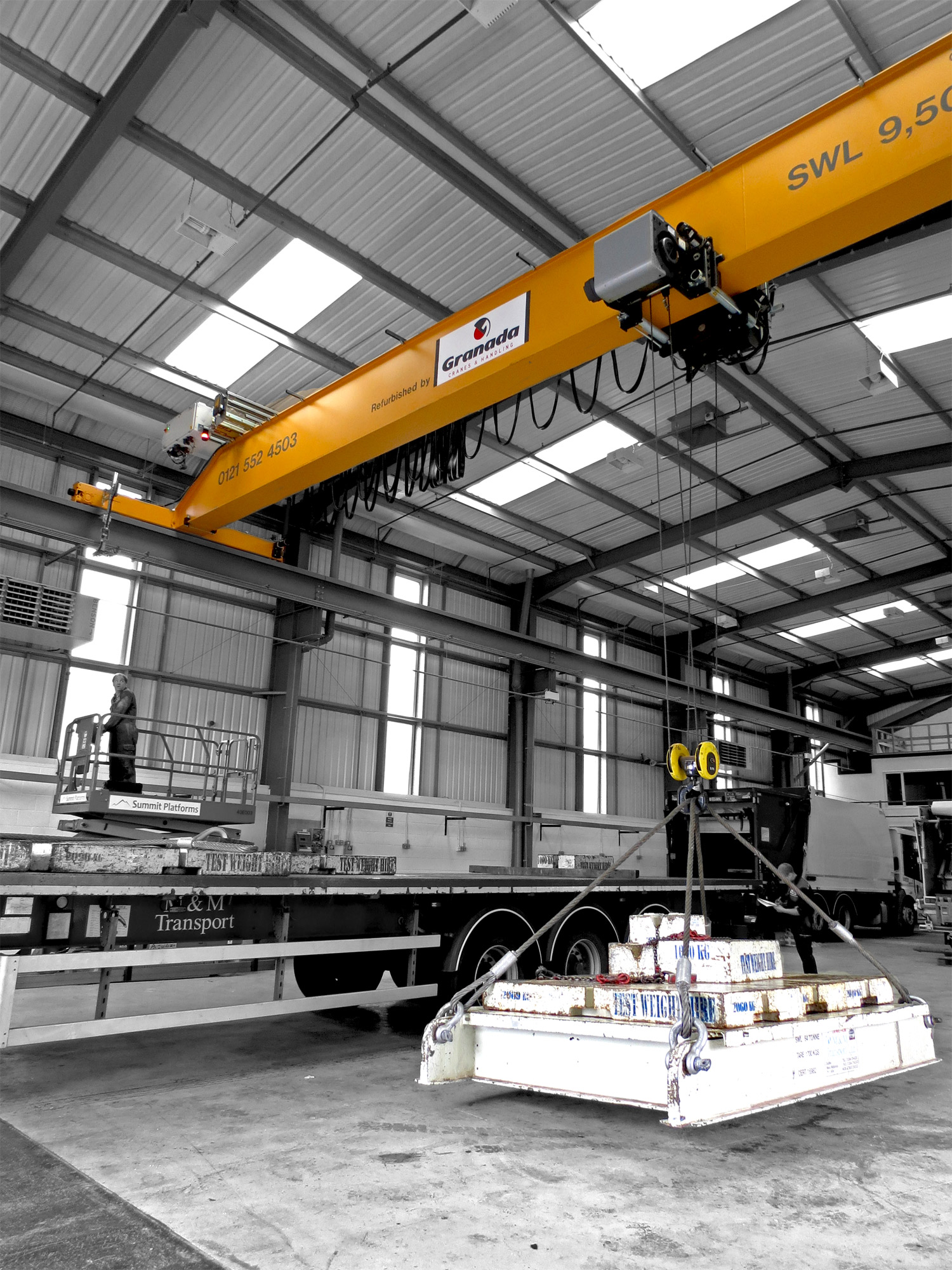Jib Crane Testing : Overhead cranes supplied to global refuse vehicle
