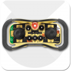 readio remote controller with joystick for controlling industrial cranes such as street cranes