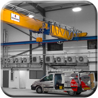 Single Girder overhead crane system supplied and installed by granada cranes and handling