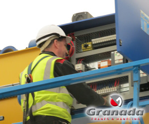 Crane Engineer from granada carrying out maintenance tasks on an overhead crane