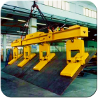 Sheet steel handling tilting magnetic beams from granada cranes and handling