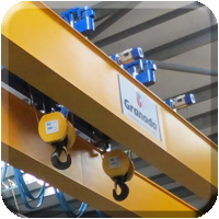 Overhead Crane with twin hoists, Aviation material handling case study homepage button