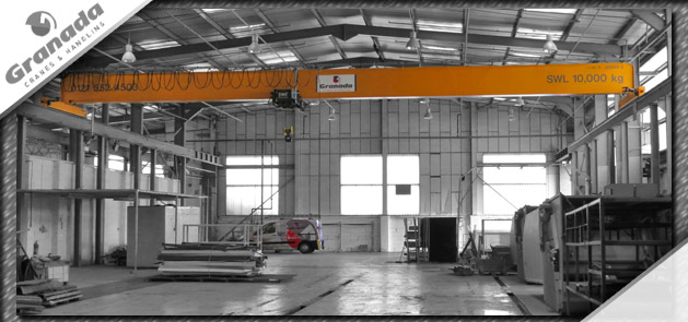 10 tonne overhead crane system with SWF hoist and Granada Cranes service engineer van
