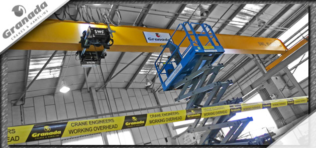 Overhead cranes being installed by Granda Cranes and Handling service engineers