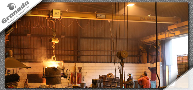Overhead crane in foundry