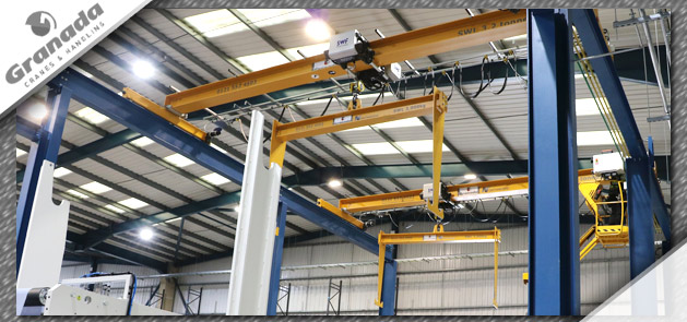 Overhead crane with lifting beam for handling paper reels