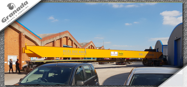 Overhead crane being transported