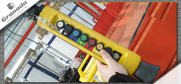 Crane pendant control with colour coded legends and key switch interlock