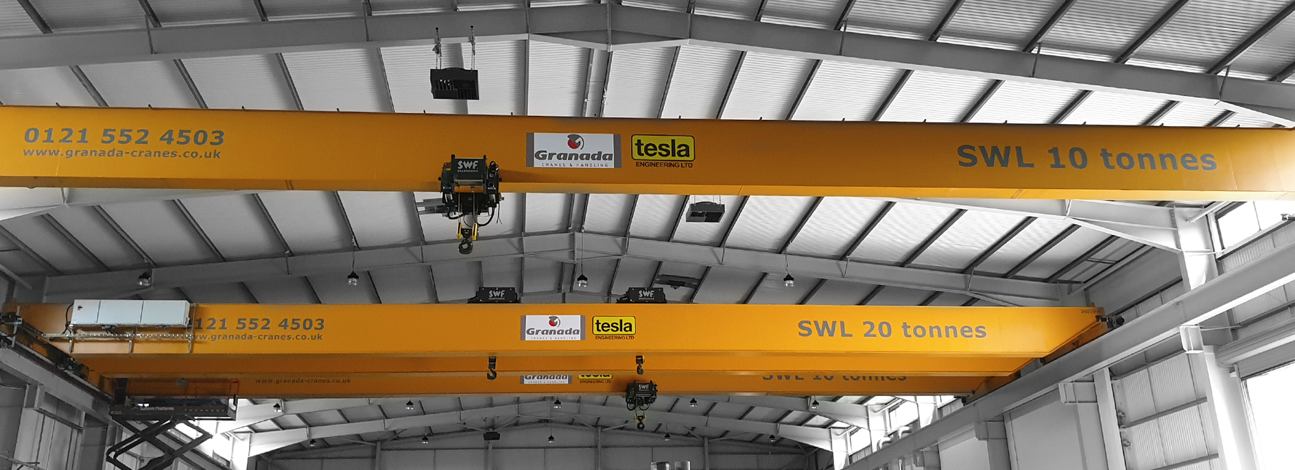 3 overhead cranes manufactured by Granada Cranes and Handling